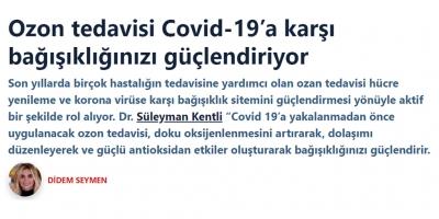Ozon tedavisi Covid-19'a karşı bağışıklığınızı güçlendiriyor