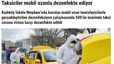 Taksiciler mobil ozonla dezenfekte ediyor